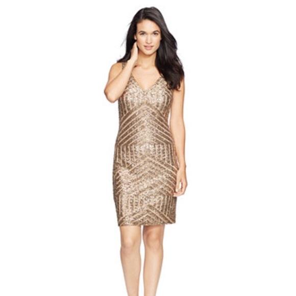 b770a364 Lauren Ralph Lauren Dresses | Gold Geometric Sequins Dress | Poshmark